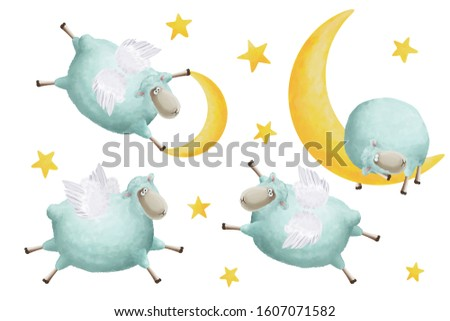 Cute sheep with wings moon and stars clip art set. Nice positive illustration, clip art, bright scrapbooking graphic white isolated