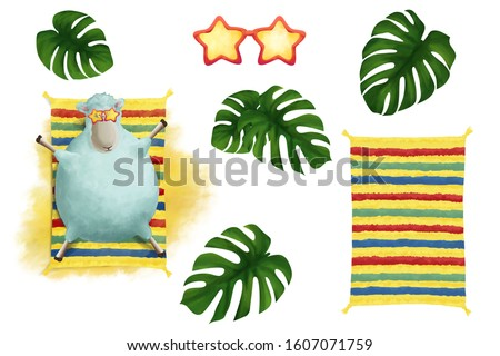Bright hot summer clip art set on white background. Basis graphics for design.