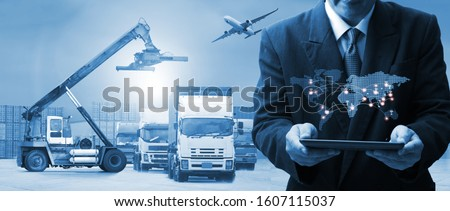 The world logistics , there are world map with logistic network distribution on background and Logistics Industrial Container Cargo freight ship for Concept of fast or instant shipping #1607115037