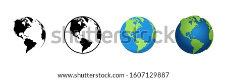 Earth Globe in different designs. World Map in circle. Earth Globes collection. World Map in modern simple styles. Earth Map, isolated on white background. Globes web icon. Vector illustration  #1607129887