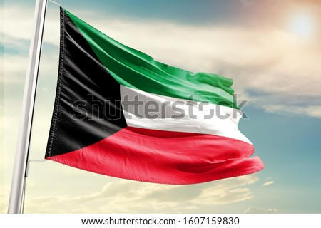 Kuwait national flag cloth fabric waving on the sky with beautiful sun light #1607159830