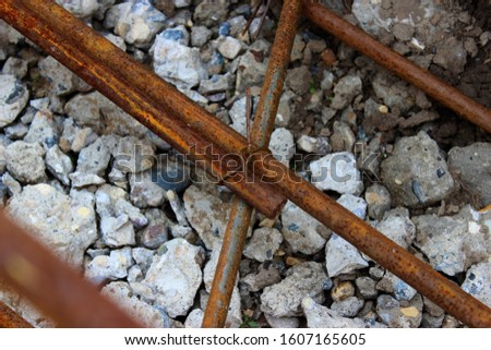 Reinforcing steel rod for construction, construction work.Reinforcing steel rods with wire rod are used on the construction site.The use of steel wire for fixing steel rods with wire rods. #1607165605