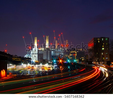 Battersea Power Station Night Time Light Trails