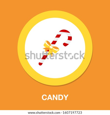 candy-cane icon. flat illustration of candy-cane - vector icon. candy-cane sign symbol Royalty-Free Stock Photo #1607197723