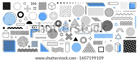 Set of 100 geometric shapes. Memphis design, retro elements for web, vintage, advertisement, commercial banner, poster, leaflet, billboard, sale. Collection trendy halftone vector geometric shapes. #1607199109