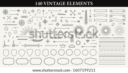 Set of 140 Vintage line elements. Retro design elements. Ornaments and Frames. Drawing geometrics line. Decoration, banners, posters, emblems, labels. Vector illustration. Royalty-Free Stock Photo #1607199211