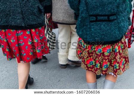 Sighetu Marmatiei, Romania: Maramures traditional costumes. Traditional Romanian peasant sandals which is worn with the Romanian peasant costume at Winter Customs and Traditions Marmatia Festival #1607206036
