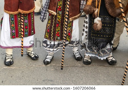 Sighetu Marmatiei, Romania: Maramures traditional costumes. Traditional Romanian peasant sandals which is worn with the Romanian peasant costume at Winter Customs and Traditions Marmatia Festival #1607206066