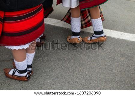 Sighetu Marmatiei, Romania: Maramures traditional costumes. Traditional Romanian peasant sandals which is worn with the Romanian peasant costume at Winter Customs and Traditions Marmatia Festival #1607206090