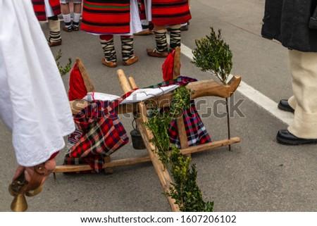 Sighetu Marmatiei, Romania: Maramures traditional costumes. Traditional Romanian peasant sandals which is worn with the Romanian peasant costume at Winter Customs and Traditions Marmatia Festival #1607206102