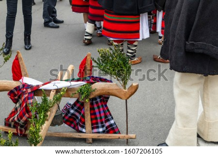 Sighetu Marmatiei, Romania: Maramures traditional costumes. Traditional Romanian peasant sandals which is worn with the Romanian peasant costume at Winter Customs and Traditions Marmatia Festival #1607206105