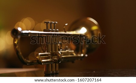 close-up gold color trumpet. Shallow depth of field. Bokeh in the background. brass instrument. breathing instrument #1607207164