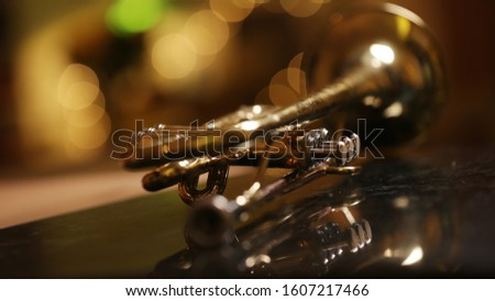 close-up gold color trumpet. Shallow depth of field. Bokeh in the background. brass instrument. breathing instrument #1607217466