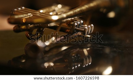 close-up gold color trumpet. Shallow depth of field. Bokeh in the background. brass instrument. breathing instrument #1607226598