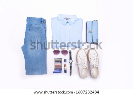 flat lay, accessories with makeup on gray background, Fashion concept  #1607232484