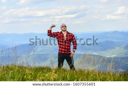 Power of nature. Man stand on top of mountain landscape background. Natural power. Masculine power. Tourist walking mountain hill. Hiking concept. Discover world. Masculinity and male energy. #1607355601