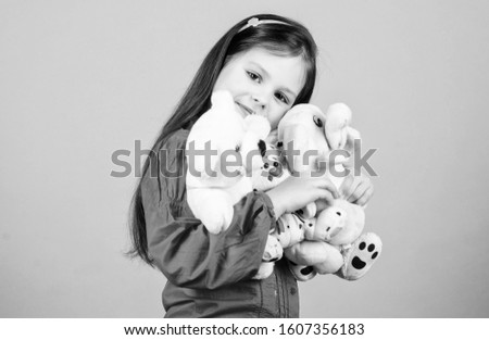 My funny friend. happy childhood. Birthday. little girl playing game in playroom. small girl with soft bear toy. child psychology hugging a teddy bear. toy shop. childrens day. Best friend.