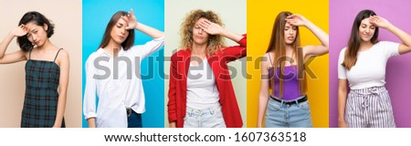 Set of women over isolated colorful background with tired and sick expression #1607363518