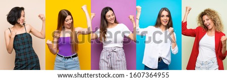 Set of women over isolated colorful background celebrating a victory #1607364955