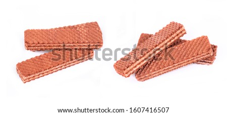 Chocolate wafers with white filling in different angles and from different angles are isolated on a white background #1607416507