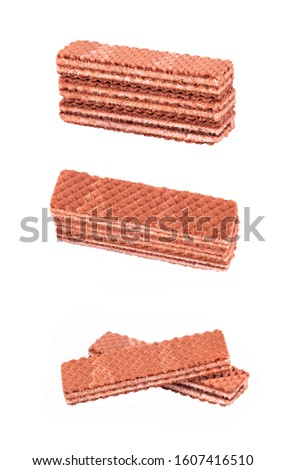 Chocolate wafers with white filling in different angles and from different angles are isolated on a white background #1607416510