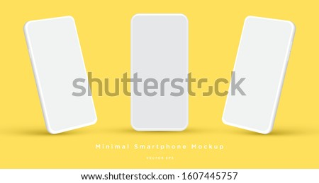 Minimalist modern clay mockup smartphones for presentation, application display, information graphics etc. Vector EPS. Royalty-Free Stock Photo #1607445757