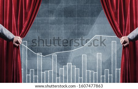 Close up of businessman hand open red velvet curtain to infographs #1607477863