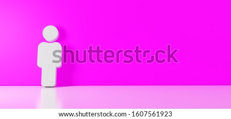 3D rendering of white symbol of male figure icon leaning on on color wall with floor blurred reflection with empty space on right side #1607561923