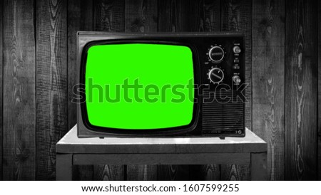 old tv set with green screen, compositing, chroma key