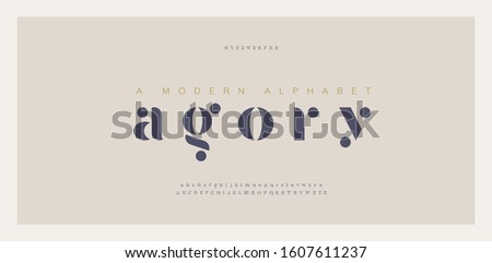 Elegant awesome alphabet letters font and number. Classic Lettering Minimal Fashion Designs. Typography fonts regular uppercase and lowercase. vector illustration Royalty-Free Stock Photo #1607611237