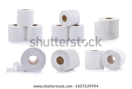 set of toilet paper on white background #1607639494