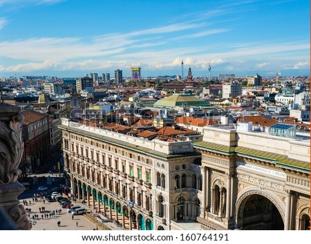Aerial view of Galleria Vittorio Emanuele and duomo square in Milan #160764191
