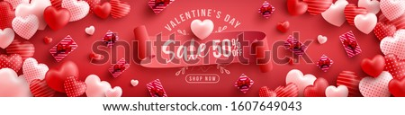 Valentine's Day Sale 50% off Poster or banner with many sweet hearts and on red background.Promotion and shopping template or background for Love and Valentine's day concept.Vector illustration eps 10 #1607649043