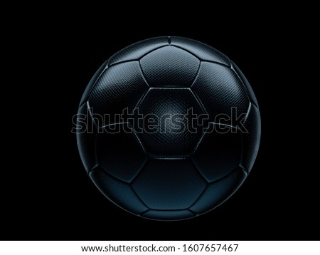 Black football or soccer ball on a matching black background with highlight on the textured surface and copy space Royalty-Free Stock Photo #1607657467