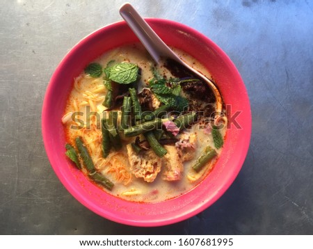 "A bowl of ""curry mee"" or noodle in spicy soup curry. It is a very popular South East Asian food and this picture is the Penang version."