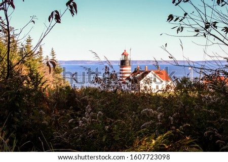 Lighthouse on rocky shores, West Quoddy Head, Lubec, Maine #1607723098