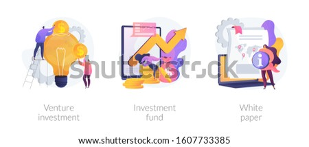 Crowdfunding campaign. Startup financing, seed funding. Creative idea generation. Venture investment, investment fund, white paper metaphors. Vector isolated concept metaphor illustrations #1607733385
