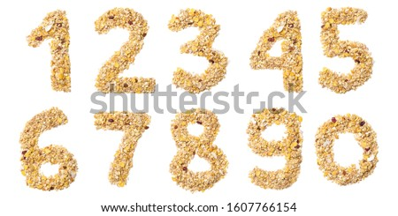 Arabic numerals   from muesli with coconut, berries, raisins, cereal and natural cereals  on a white isolated background. Food pattern made from granola.  bright  numeral for design. #1607766154