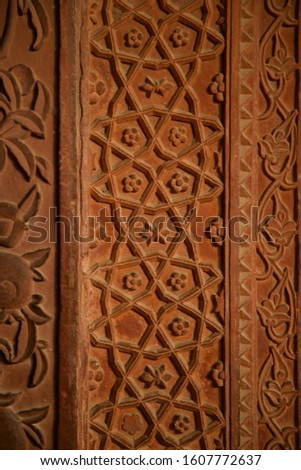 Pattern terra cotta stone in India Palace #1607772637