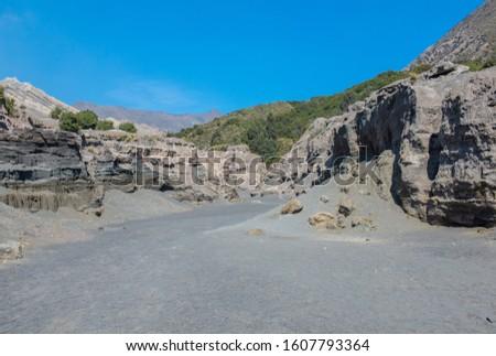 The volcanic landscape of sand sea in Bromo Tengger Semeru national park, East Java, Indonesia. #1607793364