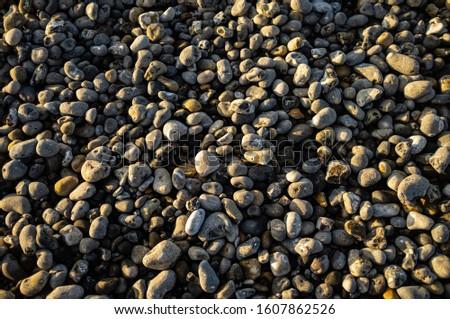 A close up of pebbles. Sea pebbles. Background of pebbles. Wet stones. Multi Colored pebbles. Sea shore. #1607862526