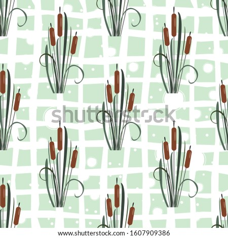 Seamless Pattern with elegant reed bushes on subtle background. Vector Illustration #1607909386