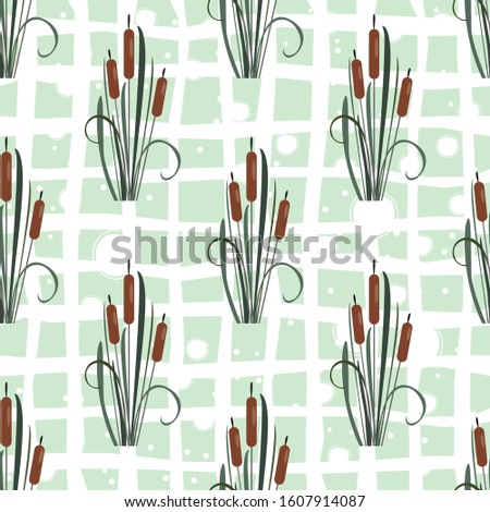 Seamless Pattern with elegant reed bushes on subtle pink background. Illustration #1607914087