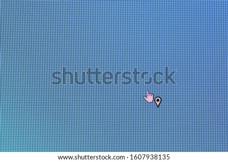 Pixel cursors icons photo: the location select cursor on blue screen. #1607938135