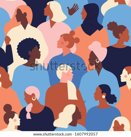 Female diverse faces of different ethnicity seamless pattern. Women empowerment movement pattern. International women's day graphic in vector.  #1607992057