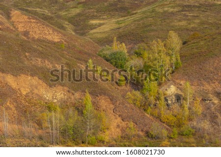 Autumn landscape, dark blue water, last warm days, river, trees, windy weather, yellow-red autumn leaves #1608021730