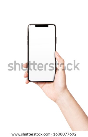 Woman hand hold(grip, touch) a smart phone isolated white. #1608077692