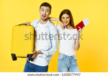 Funny men and women passport and plane ticket travel family  #1608077947