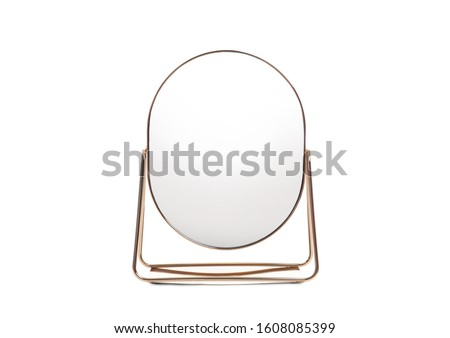 Desk mirror with stand isolated on white Royalty-Free Stock Photo #1608085399