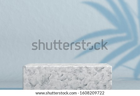 Natural beauty poduim backdrop with empty cube box for cosmetic product display. fashion beauty background with marble stone texture.3d rendering.  #1608209722